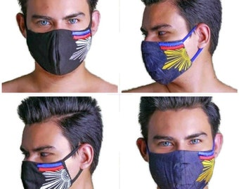 "FACE MASK Filipino ""SINAG"" Pinoy Washable Embroidered Dust Mask Philippine Made"
