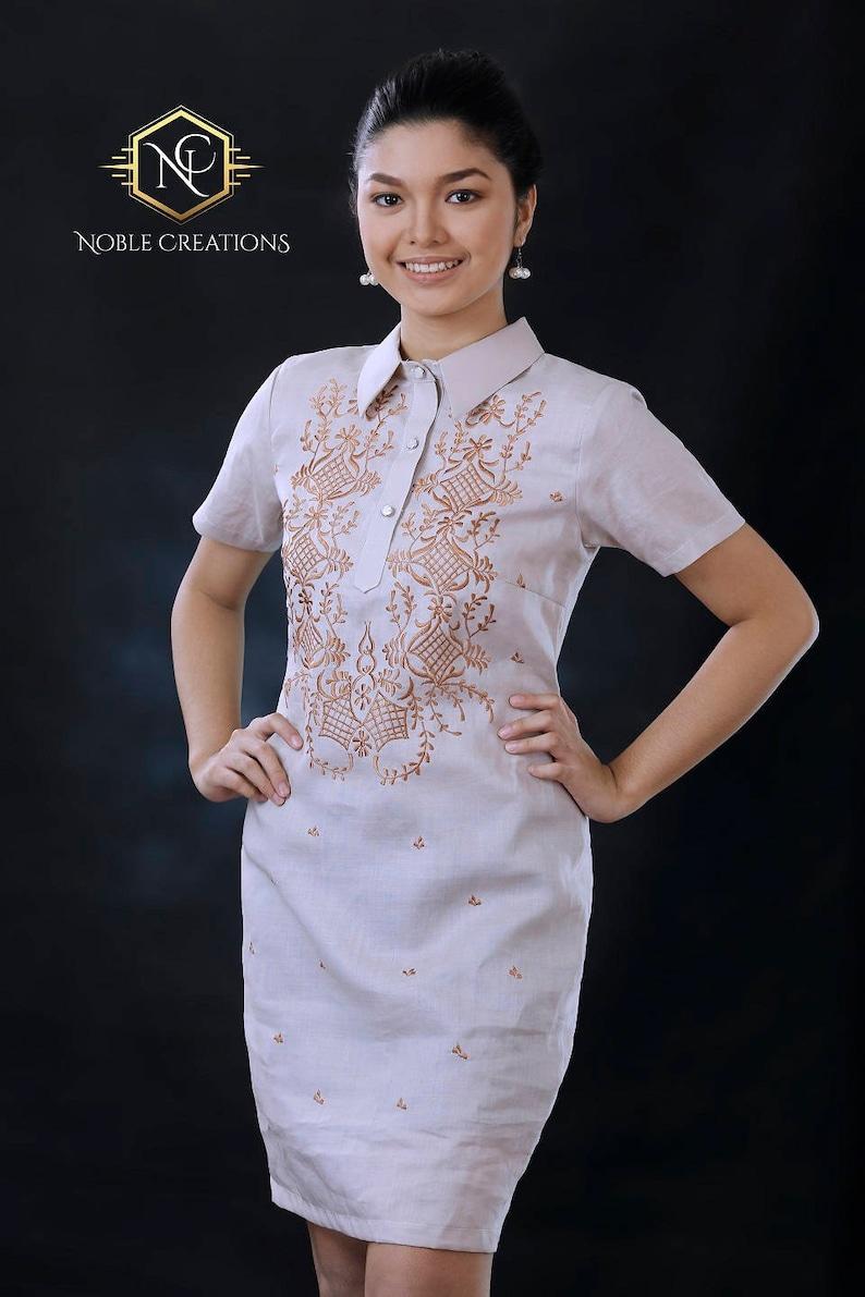 4e5fbc4c062 Modern FILIPINIANA Dress Linen BARONG TAGALOG Philippine