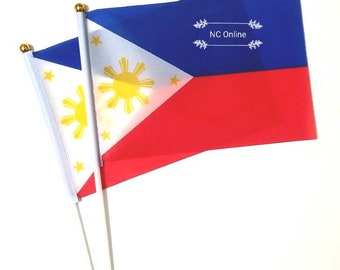 PHILIPPINE FLAG Handwave/Stick Watawat Bandila ng Pilipinas Patriotic Independence Day 3 Stars and a Sun