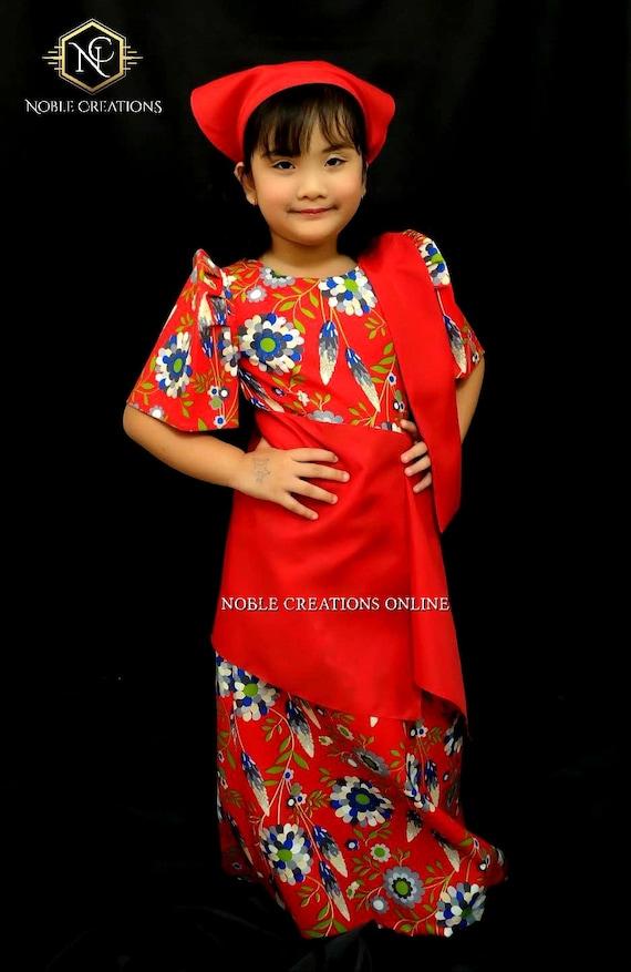 Kids Filipiniana Dress Floral Patadyong Philippine National Etsy