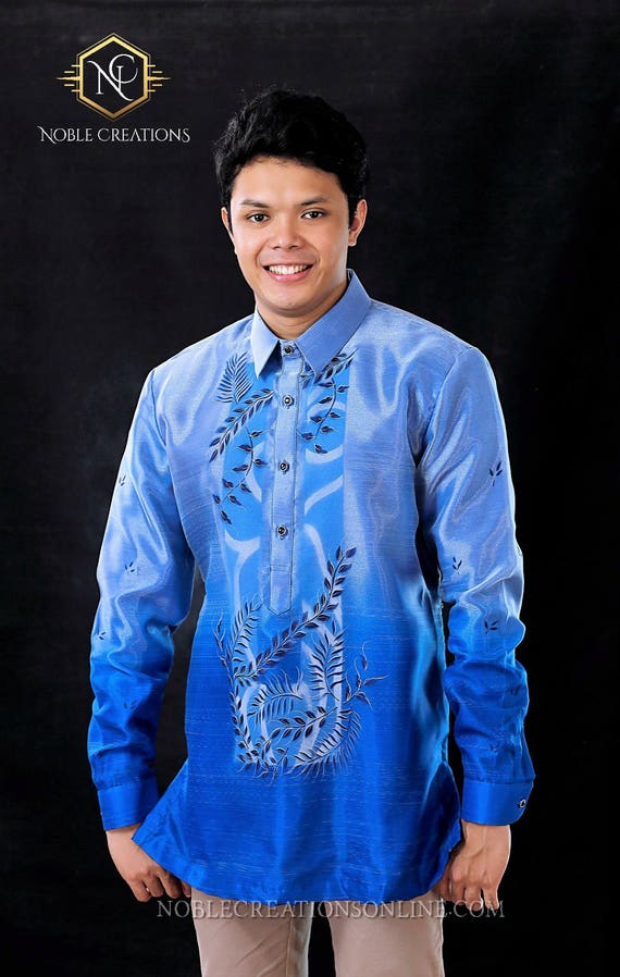 BARONG TAGALOG with Inner Lining Philippine National Costume FILIPINIANA Formal Dress For Men - Blue TE13mAzC