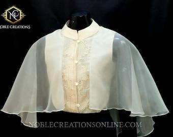 Modern FILIPINIANA  Silk Embroidered CAPE Barong - BEIGE