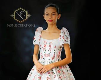 Kids FILIPINIANA SANTACRUZAN DRESS Hand-Painted Mestiza with petticoat Custom Made Only