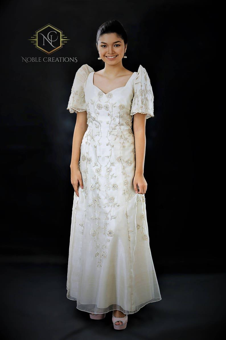 67f25e4df5 FILIPINIANA DRESS Embroidered Mestiza Gown Filipino Barong