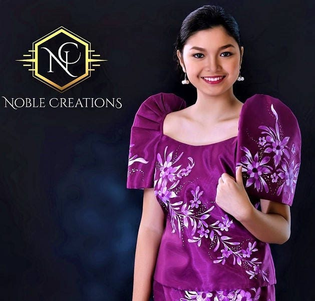 FILIPINIANA DRESS Handpainted Mestiza Gown Philippine National ...