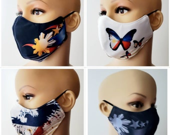 FACE MASK Filipino We Heal as One Philippine Flag Neoprene with Pocket Filter Sublimation Washable Dust Mask