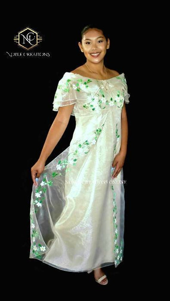 FILIPINIANA DRESS Hand-painted Off-Shoulder Gown Philippine | Etsy