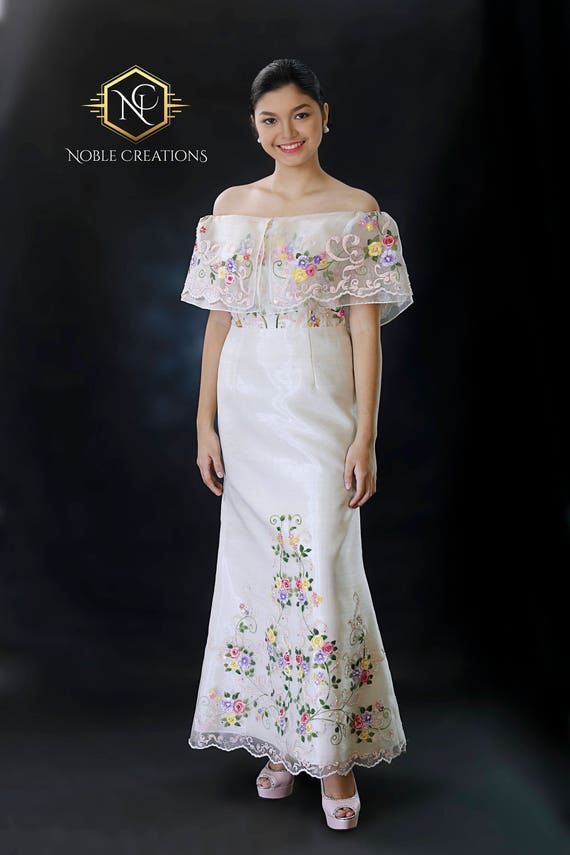 FILIPINIANA Dress Hand-painted and Embroidered Maria | Etsy