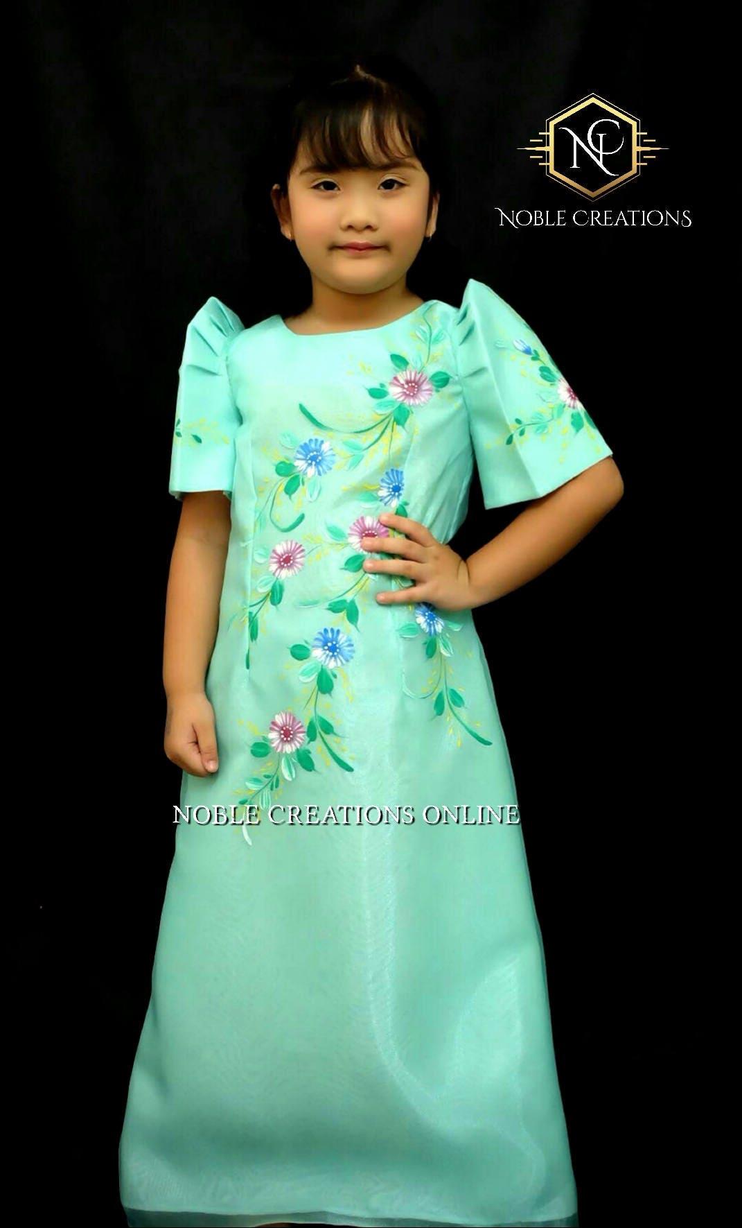 KIDS FILIPINIANA DRESS Handpainted Mestiza Gown SantaCruzan   Etsy