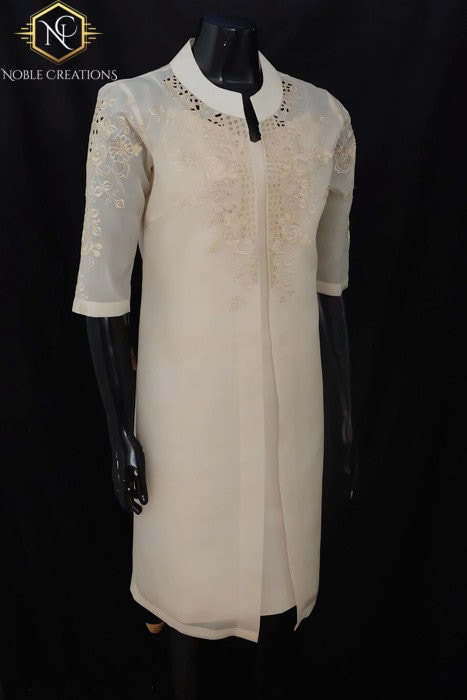 f38fd74daf TUNIC BLAZER in COCOON Silk - Embroidered Modern Filipiniana Barong Tagalog  Philippine National Costume Filipino Filipina - Beige