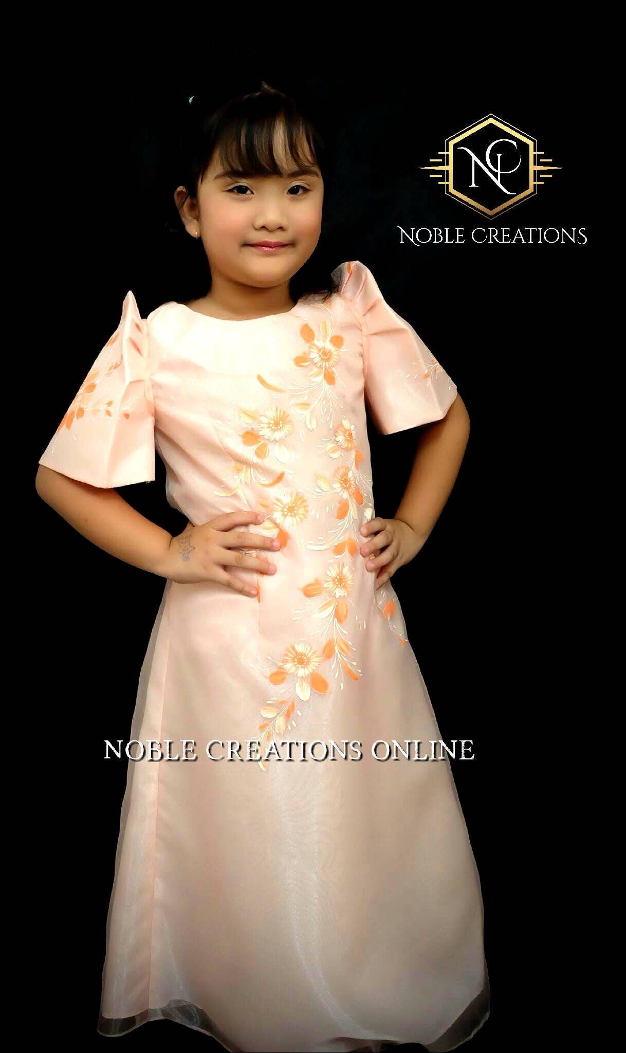 Kids Filipiniana Dress Handpainted Mestiza Gown Santacruzan Philippine National Costume Maria Clara Baro At Saya Barong Tagalog Peach