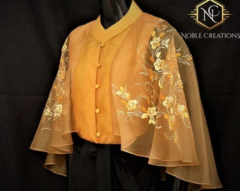 Modern FILIPINIANA Inspired Silk Hand-Painted CAPE BLOUSE Philippine National Costume - Gold
