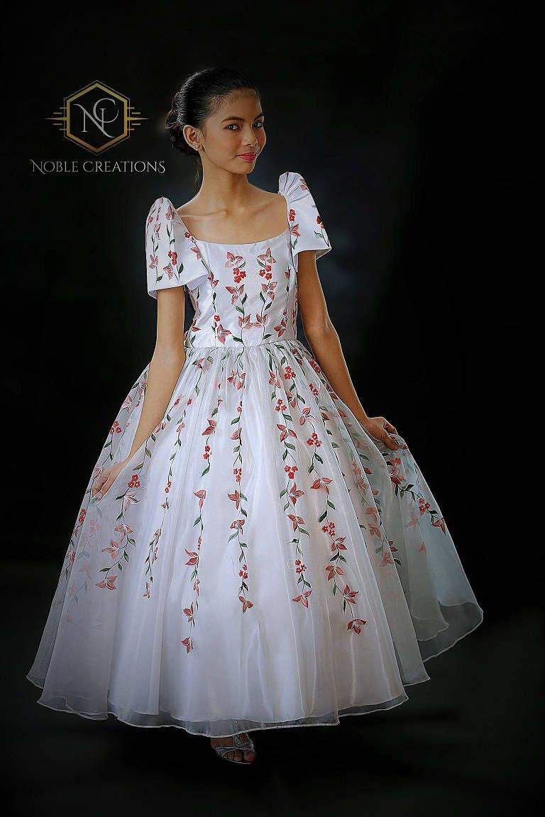 Kids Filipiniana Santacruzan Dress Hand Painted Mestiza With Petticoat Custom Made Only
