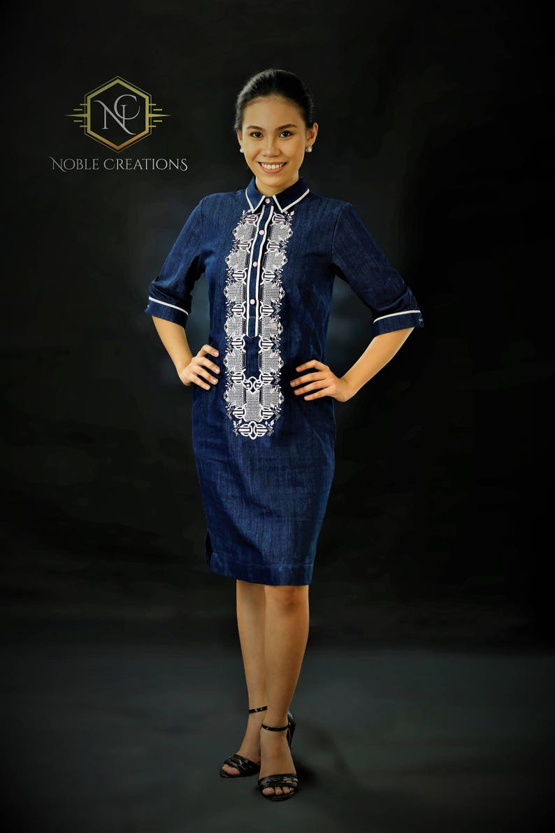 Sale!!! Modern FILIPINIANA Dress Denim BARONG TAGALOG for her Philippine  National Costume - Navy Blue