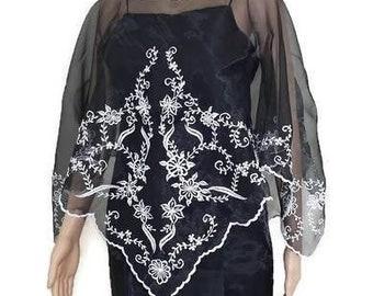 FILIPINIANA BLACK PONCHO Panuelo Embroidered Philippine Barong Tagalog Maria Clara Mestiza Design