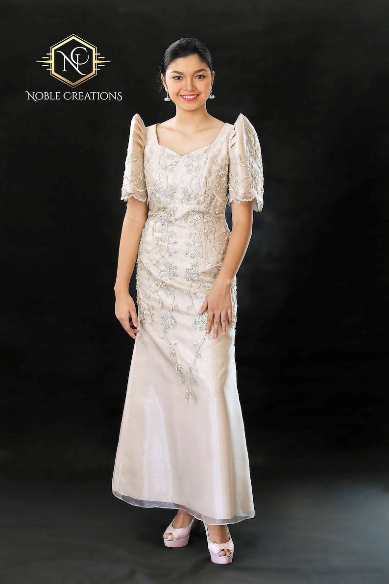 9fcf7af3c41 FILIPINIANA DRESS Embroidered and Beaded MESTIZA Maria Clara