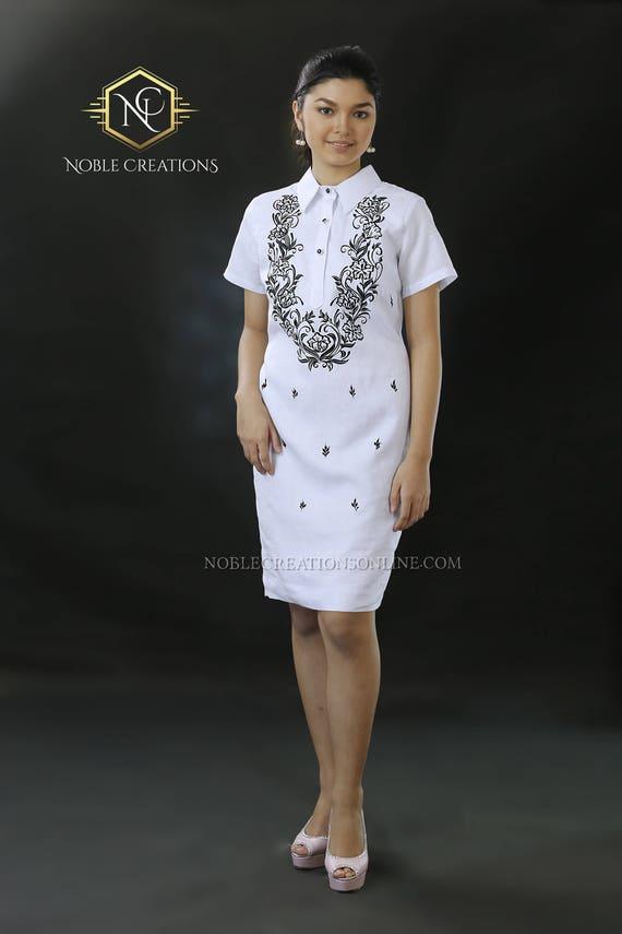 Modern Filipiniana Dress Linen Barong Tagalog Philippine Etsy