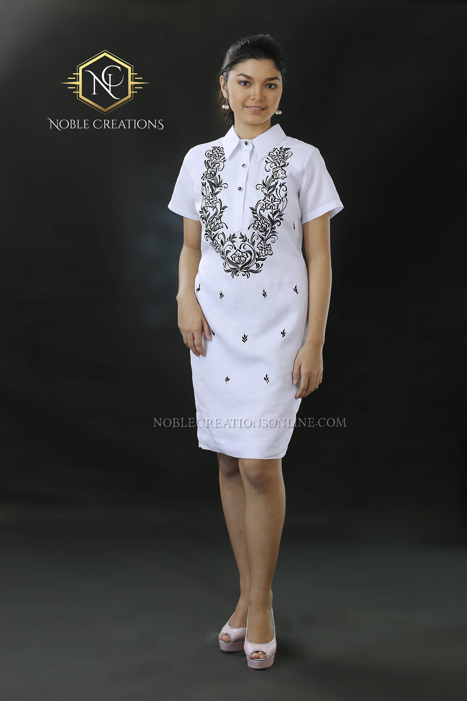 Modern FILIPINIANA Dress Linen BARONG TAGALOG Philippine National ...