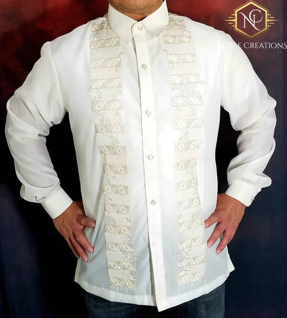 barong tagalog full open embroidered jusi cotton blend fabric etsy barong tagalog full open embroidered jusi cotton blend fabric with lining filipino national costume filipiniana formal dress for men
