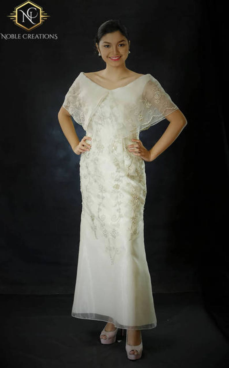d6cfaf4a3f FILIPINIANA DRESS Embroidered Off-Shoulder Gown Philippine