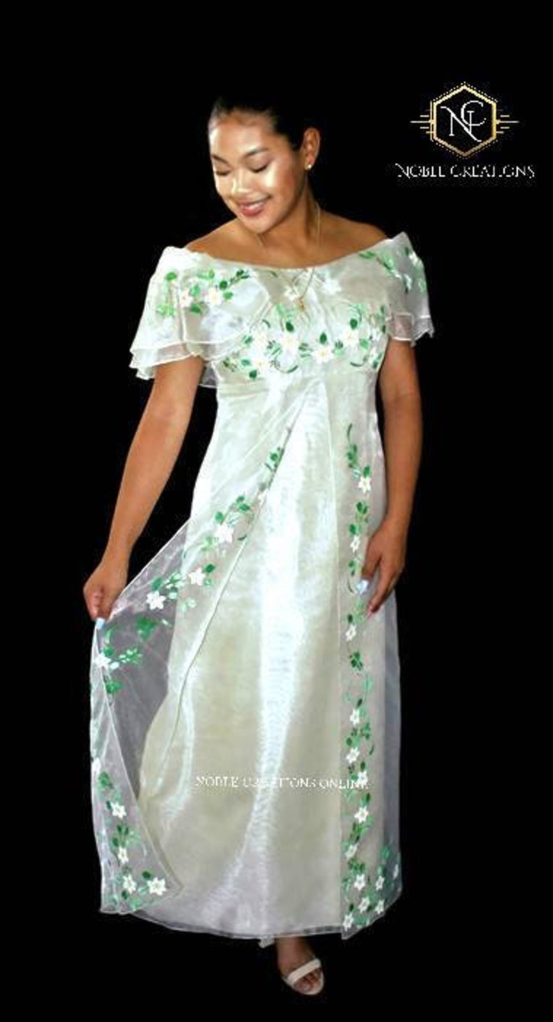 01271ac3644 FILIPINIANA DRESS Hand-painted Off-Shoulder Gown Philippine