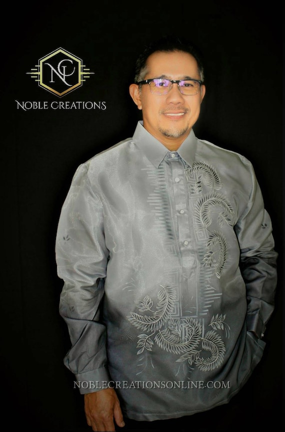 BARONG TAGALOG with Inner Lining Philippine National Costume FILIPINIANA Formal Dress For Men - Blue DpLw8FaD