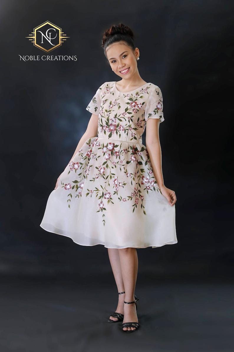 dbeb9b52fc1 FILIPINIANA Dress Hand Painted Jusi BARONG TAGALOG Philippine
