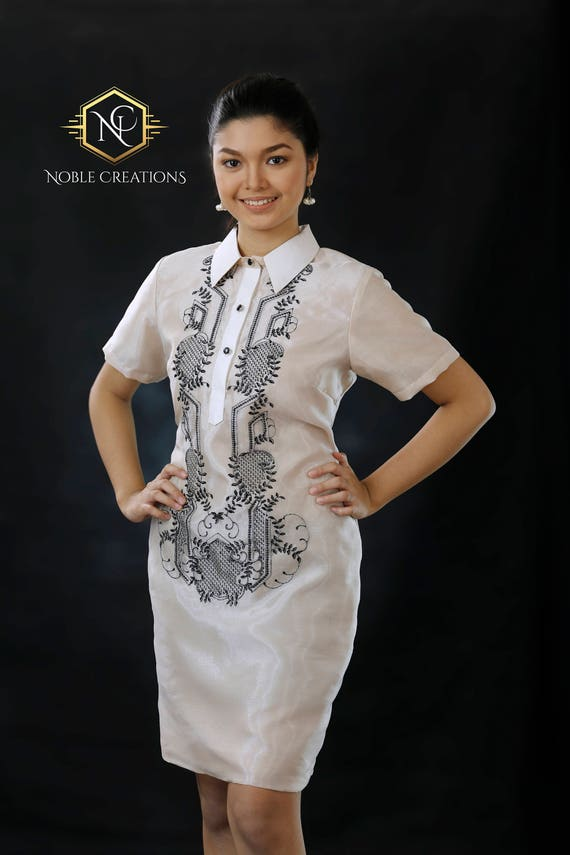 Modern FILIPINIANA Dress Silk BARONG TAGALOG Philippine | Etsy