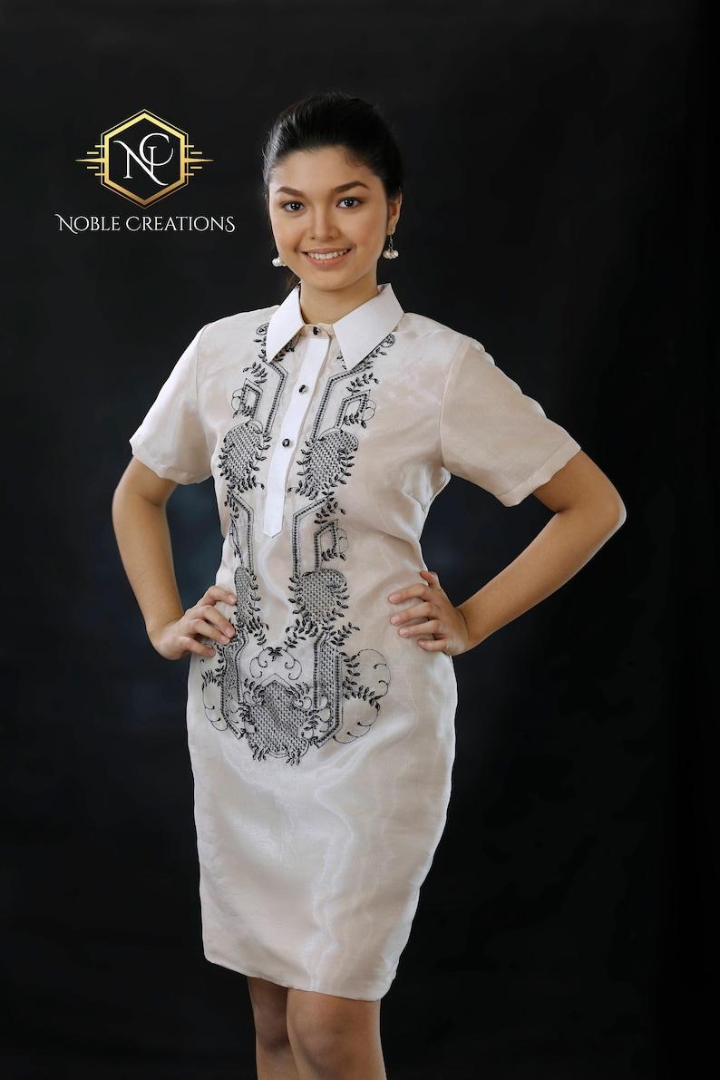 626c06cb037 Modern FILIPINIANA Dress Silk BARONG TAGALOG Philippine