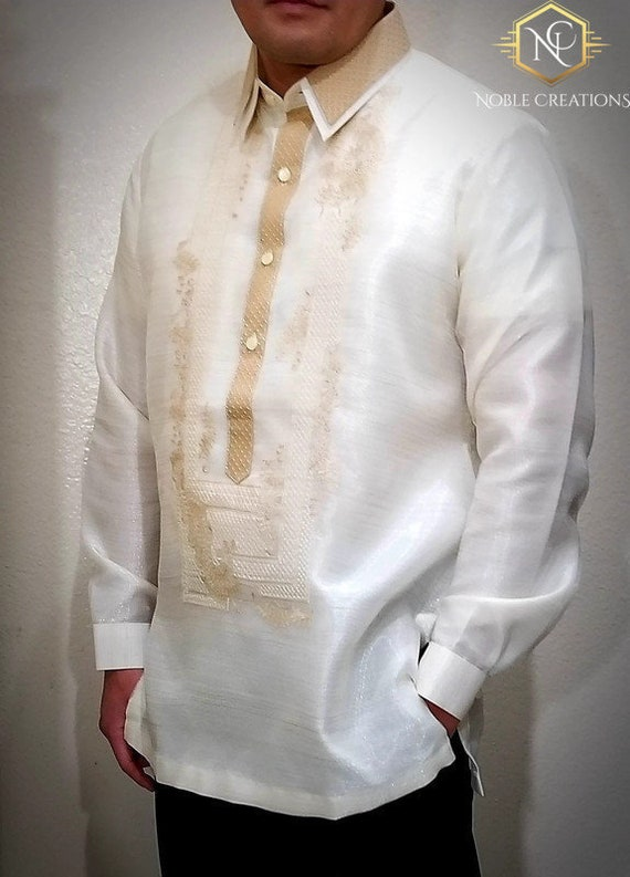 double collar barong tagalog filipino national costume etsy double collar barong tagalog filipino national costume filipiniana formal dress for men made in lumban laguna philippines beige