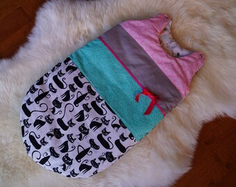 Baby SleepSack / Wearable Blanket - Cats - Pink, Aqua, Grey - Shower - Nursery