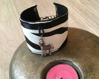 Zebra pattern leather Cuff Bracelet