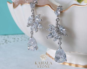 Teardrop earrings Wedding Wedding earrings Bridal earrings Crystal earrings CZ earrings  jewellery Bridal jewelry Platinium plated