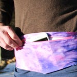 Purple Watercolor FestiBelt: A spandex belt with a zippered pocket for hiking, travel and concerts.