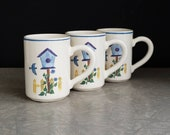 Crock Shop Coffee Mugs, BIRD HOUSE Pattern Designed by R. Carter, Set of 3, CSI Santa Ana California Pottery