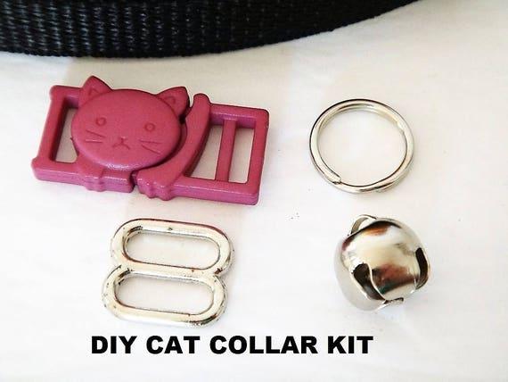 Cat Collar Diy Kit In Purple Cat Collar Hardware Set Breakaway Buckle With Bell And Webbing