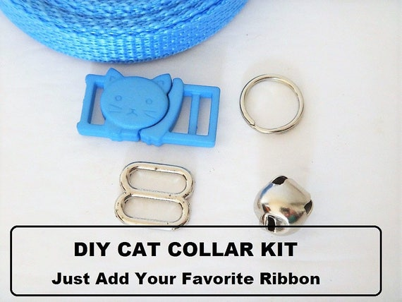 Cat Collar Diy Kit In Blue Cat Collar Hardware Set Breakaway Buckle With Bell And Webbing