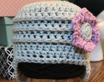 Crochet PATTERN: Earflap Flower Ridge Hat