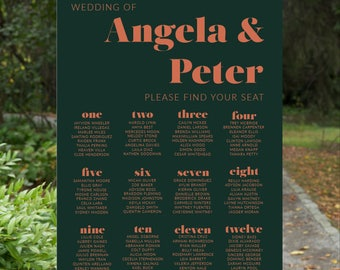 Wedding Seating Chart | Wedding Seating Poster | Wedding Welcome Poster | Modern Seating Chart | SAMARA - Wedding Seating Chart