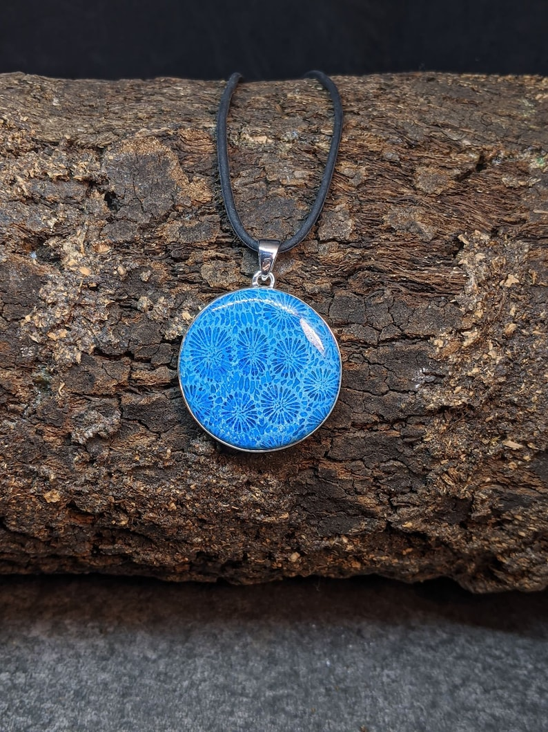 High Vibrational Blue Fossil Coral 925 Silver Pendant