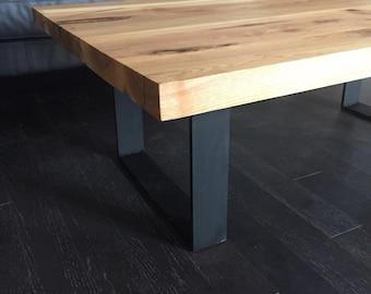 Multi board coffee table with U shape legs