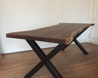 Walnut dining table with x legs