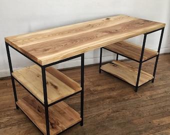Hardwood desk with shelves