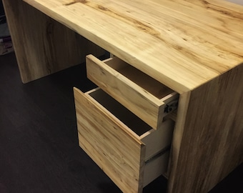 Waterfall desk with drawers