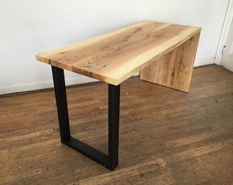 Hardwood waterfall desk