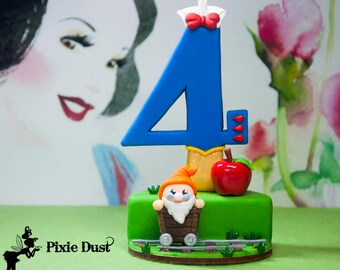 Snow White birthday candle, snow white cake topper, snow white number candle, snow white candle holder, party supplies and decorations