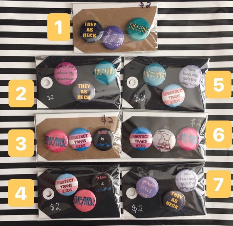 Trans 1 inch Pin Pack