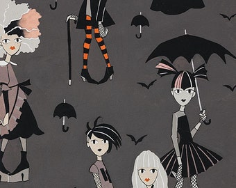 Alexander Henry,  Going Goth Charcoal, quilting cotton, halloween fabric, Goth theme fabric