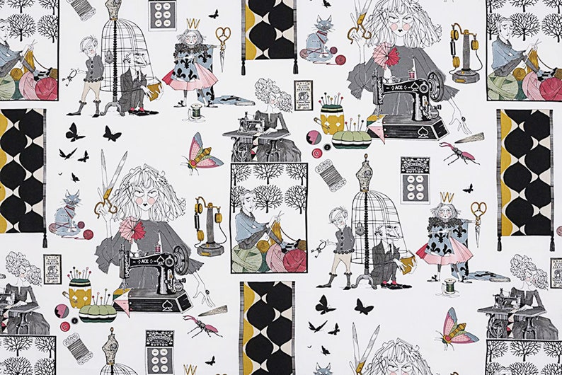 Alexander Henry Fabric  A Ghastlie Craft Natural  By the image 0