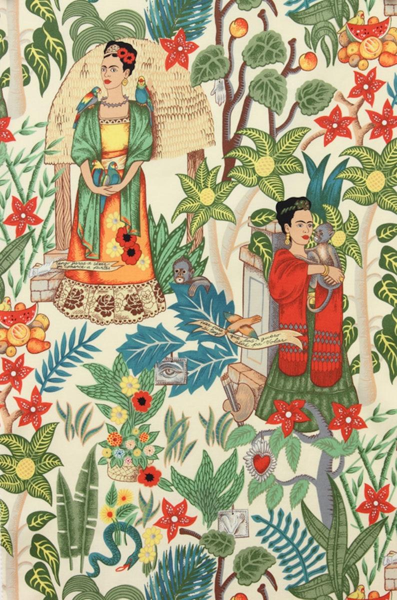 Alexander Henry Fabric Frida 's Garden in Tea  Shipping image 0